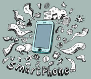 Doodle set of smart phone. Hand drawn doodle set of smart phone, signs and symbols of phone elements - collection over blue background vector illustration Royalty Free Stock Image