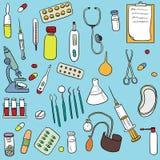 Doodle set sprzęt medyczny ilustracja wektor