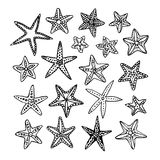 Doodle set of starfishes. On white background. Hand drawn vector illustration Stock Photo