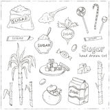 Doodle Set of sugar products Vector illustration Stock Photos