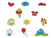 Doodle Set: Summer. Set of colorful doodle illustrations including little girl, little boy, happy home, balloon, flower, sun and other summer-related symbols ( Royalty Free Stock Images