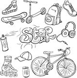 Doodle set of teenagers accessories Stock Images