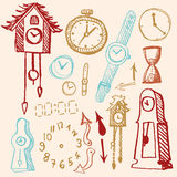 Doodle set - time. Collection of doodle time symbols Royalty Free Stock Image