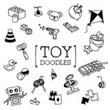 Doodle set of Toys. Hand drawing styles of Toys Stock Photography