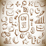Doodle set of vintage internet icons Stock Images