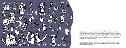 Doodle set z ślicznymi miłość symbolami również zwrócić corel ilustracji wektora ilustracji