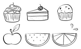 Doodle sets of different foods Stock Photos