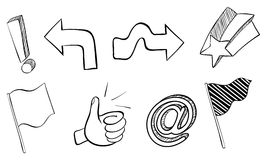 Doodle sets of different symbols Stock Photos