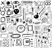 Doodle, shapes, circle, square, line. Set hand drawn signs isolated on white Royalty Free Stock Photos