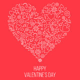 Doodle shapes heart valentines day card Stock Photo