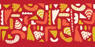 Doodle shapes Seamless horizontal border vector. Modern abstract pattern with simple elements red, white, yellow, pink stock illustration