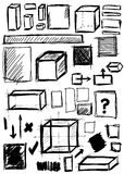 Doodle shapes square, cube Stock Images