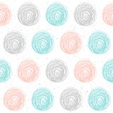 Doodle shape seamless background. Doodle shapeseamless background. Abstract childish blue, grey and pink elements pattern for card, invitation, wallpaper, album Royalty Free Stock Image