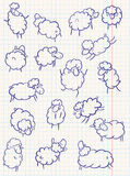 Doodle sheep. Set, hand-drawn illustration Royalty Free Stock Photo