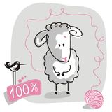 Doodle Sheep. Cute doodled sheep with wool quality label Stock Photos