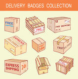 Doodle shipping box set. Vector illustration Stock Images