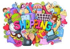 Doodle on Shopping concept Stock Photos