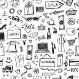 Doodle shopping icons seamless pattern. Abstract sale or offer background. Vector illustration Royalty Free Illustration