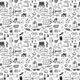 Doodle shopping icons seamless pattern. Abstract sale or offer background. Vector illustration Vector Illustration