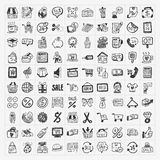 Doodle shopping icons set. Cartoon illustration Vector Illustration