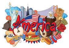 Doodle showing Architecture and Culture of America. Vector illustration of Doodle showing Architecture and Culture of America Royalty Free Stock Photo