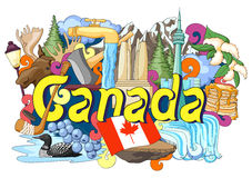 Doodle showing Architecture and Culture of Canada. Vector illustration of Doodle showing Architecture and Culture of Canada Royalty Free Stock Photography