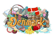 Doodle showing Architecture and Culture of Denmark Royalty Free Stock Photography