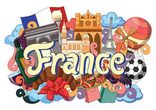 Doodle showing Architecture and Culture of France Stock Images