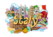 Doodle showing Architecture and Culture of Italy Stock Photography