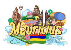 Doodle showing Architecture and Culture of Mauritius Stock Photos