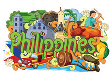 Doodle showing Architecture and Culture of Philippines vector illustration