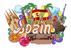 Doodle showing Architecture and Culture of Spain Stock Images