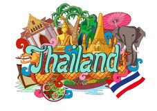 Doodle showing Architecture and Culture of Thailand Stock Image