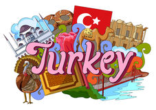 Doodle showing Architecture and Culture of Turkey Stock Images
