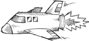 Doodle Shuttle Rocket Vector Stock Photography