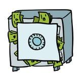 Doodle sicuro in pieno di soldi illustrazione vettoriale