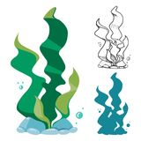 Doodle, silhouette and cartoon seaweeds set. Underwater plants, vector illustration Stock Image