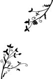 Doodle Silhouette Floral,  on white Stock Photography