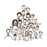 Doodle Simple Casual People Group Stock Photo