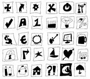Doodle simplified symbols Stock Photo