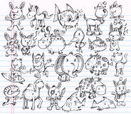 Doodle Sketch Animal Vector Design set Stock Images