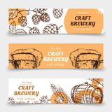 Doodle sketch brewery vintage vector banners with beer and hops vector illustration