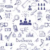 Doodle sketch business icon seamless pattern. With financial  teamwork  management  graphs and charts  handshake  brainstorming  documents and mail icons Stock Image