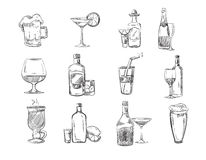 Doodle sketch cocktails and alcohol drinks in glass. hand drawn vector stock. Set of alcohol cognac and champagne, mulled wine alcohol in glass illustration Stock Images
