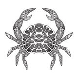 Doodle sketch crab black line Royalty Free Stock Images