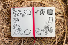 Doodle sketch diary on hay box.jpg Stock Photography