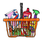 Doodle sketch drawing with a basket of groceries from the supermarket Royalty Free Stock Photography