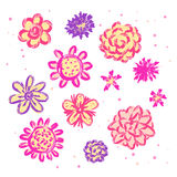 Doodle sketch flowers isolated. Different flowers in sketch technique isolated on white royalty free illustration