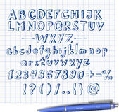 Doodle sketch font  hand drawn with blue pen Stock Image
