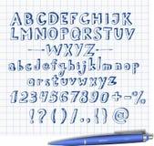 Doodle sketch font  hand drawn with blue pen. Doodle sketch font on squared paper. Hand drawn with blue pen Stock Image